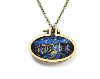 Starry Night over the Rhone// Vincent Van Gogh Miniature Embroidery// Pendant Necklace