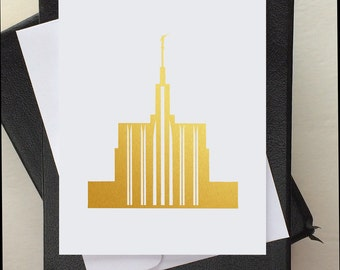 LDS Stationery - LDS Baptism Invitation - LDS Card - Lds Temple - Card for Lds Baptism - Gold Vinyl - Gold Temple - Seattle Temple