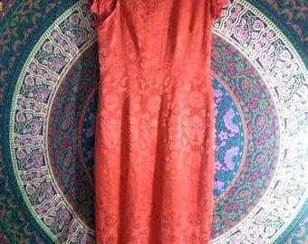 Vintage Red Cheongsam, Asian Dress Oriental Quipao