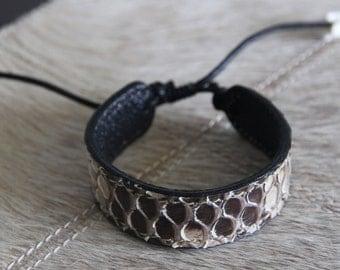 Genuine Python Leather Bracelet/Genuine Snakeskin Bracelet/Exotic Bracelet
