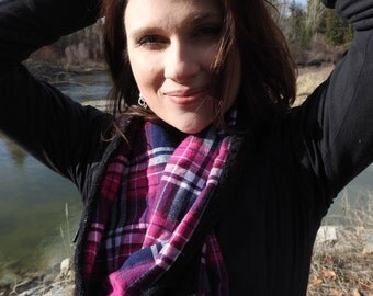 Fuchsia, Navy, and Black Flannel and Lace Infinity Scarf