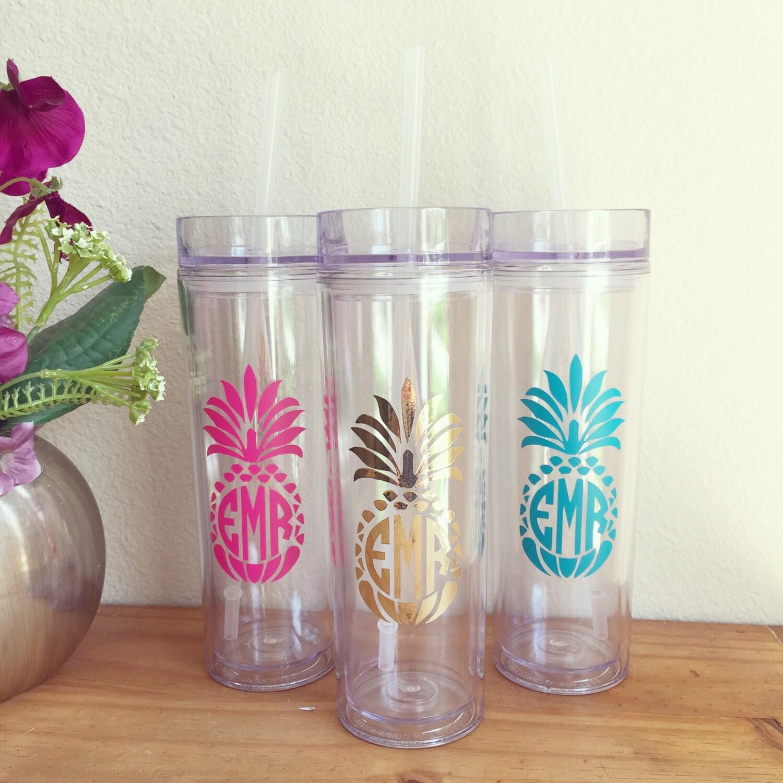 pineapple monogram tumbler skinny tumbler bridesmaid gifts