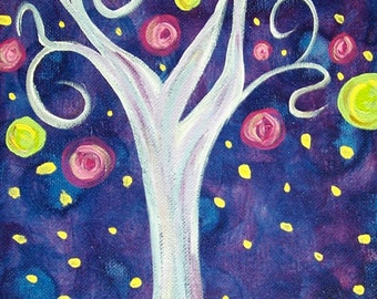 SALE,Whimsical Tree Paintings, Tree Paintings, Tree Art, Whimsical Painting, Original Painting,Acrylic Painting, Canvas