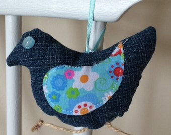 denim hanging bird keepsake