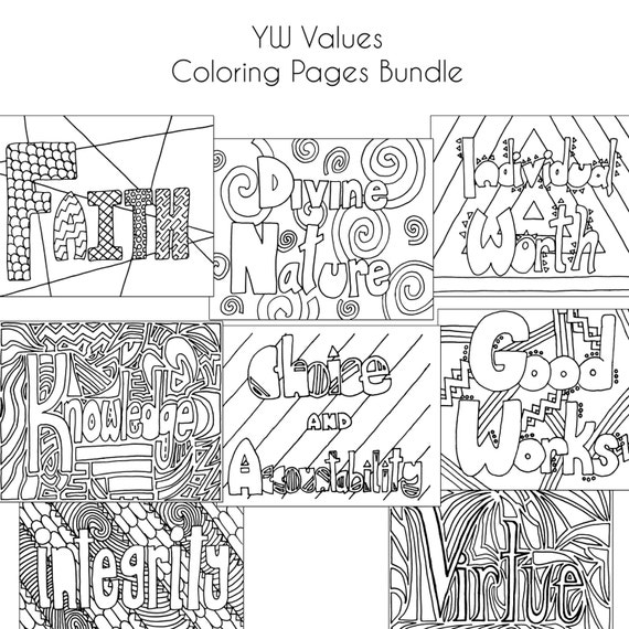 Lds Coloring Pages Pdf : Lds young women values coloring pages bundle by marissasmuse