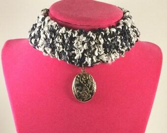 Knit goth, steam punk, choker necklace