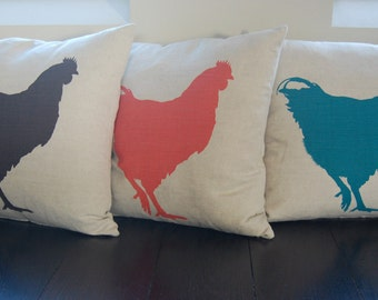 Linen Cushions with Chicken Print, Hand Screen Printed & Feather Filled