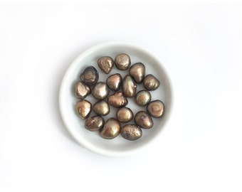 30pc 9mm Baroque Fresh Water Pearl Bronze-Loose Pearl Bead