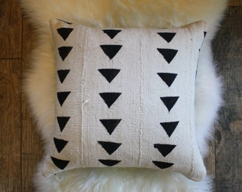 Triangle Mud Cloth + Denim Pillow Cover