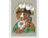Brittany Spaniel Art Print - Marshall - Dogs in Clothes Art - Military Dogs - Pet Kingdom by Maria Pishvanova