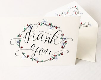 Thank You Wreath Card - Hand Lettered Calligraphy