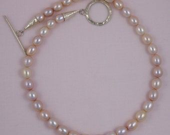 Iridescent Natural Pink Freshwater Pearls with Hammered Silver Toggle Clasp