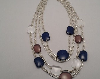 Handmade Blue, Brown and Clear Stone and Silver Multistrand Necklace
