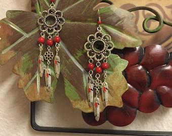 Red Flower & Feather Earrings