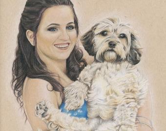Custom Coloured Pencil Portrait, Personalised Illustration