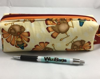 Notions Pouch for Knitting, Pencil Pouch, DPN Case, Mini Box Bag, Double Zipper Organizer, Cosmetic Storage, Turkey