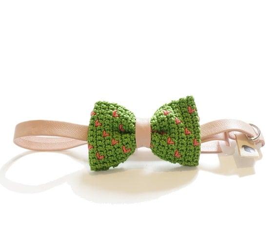 Pet Bow Tie - MARIO GARDEN, pet accessories, pet bow tie, pet bowtie, dog bow tie collar, cat bow tie collar, crochet bow tie