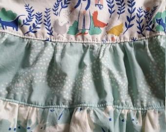 Old McDonald Triple Mash Up Dress, Organic Cotton, Baby Girl, Farm Animals, Pigs, Chickens, Lambs, Pink, Gray, Aqua, Navy