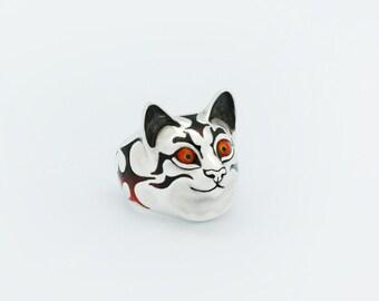Cat Fedya ring - stetling silver, enamel
