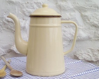 Large French vintage enamel coffee pot.
