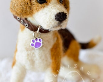 OOAK Handmade Needle Felted Beagle Puppy