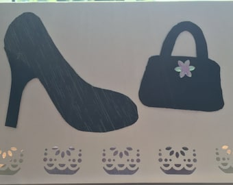 Blank card for all occasions with black stiletto with a leather handbag