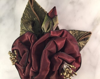 Burgundy and Green Ribbon Rose Corsage or Hair Accessory