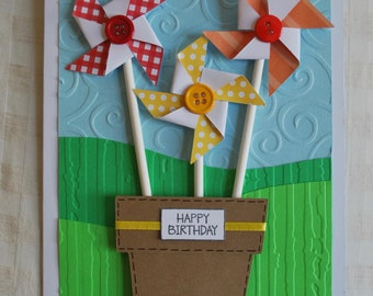 Birthday Card - Colorful Pinwheel Birthday Greeting Card - Blank Inside