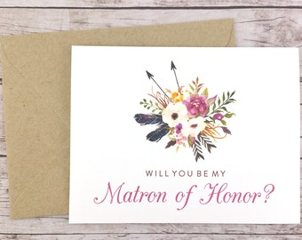 Will You Be My Matron of Honor Card, Matron of Honor Proposal Card, Floral Wedding Card, Matron of Honor Gift, Rustic Wedding - (FPS0022)