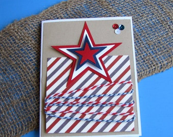 Stars and Stripes Centered Greeting Card, Handmade