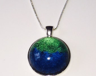 Deep Colours Round Pendant, Resin Necklace, Statement Jewellery, Gift for Her, Gift for Mom, Boho Chic, Handmade Pendant