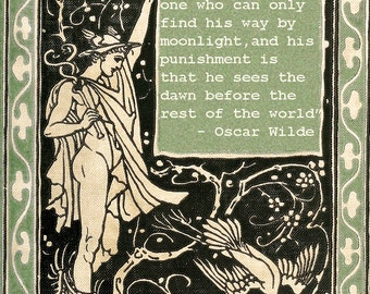 Oscar Wilde Quote Vintage Book Cover Art Print