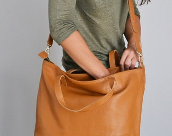 LEATHER TOTE BAG, Tan Leather Tote, Oversize Italian Pebbled  Leather Tote Bag  - Top Zip - Camel Brown Tote - London Bag -
