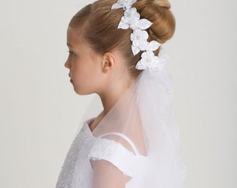 CLOSEOUT- White First Communion Headpiece, Flower Girl Headpiece, flower girl headpiece, flower girl head wreath, Designer US Angels