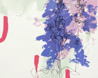 "Floral art, Screen Print, delphiniums, purple, pink, contemporary, coral vase ""Glow (Blush)"""