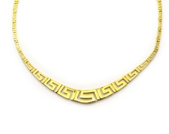 Greek Key Gold Necklace, 14K Solid Gold Necklace, Greek Meander Necklace, Yellow Gold Necklace, Greek Necklace Jewelry, Delicate Necklace