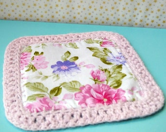 DIY KIT Coasters Fabric Yarn Instructions Pattern , Floral , Square , Teacups + Mugs , Home decoration