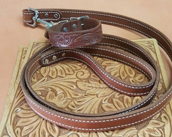 Leather Dog Collar and leash