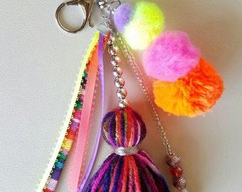 Pom Pom Tassel Keychain/Bag Charm - Purse Charm - Boho Keychain - Silver - Neon Hot Pink - Orange - Yellow - Purple - Ethnic
