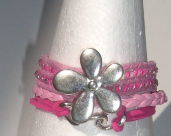 Boho Pink friendship bracelet Flower charm and  Infinity  charm cuff, Gift for her