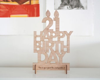 Happy Birthday Candle Card - Wood Postcard