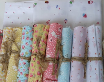 Hearts, bunnies and cherries assortment fabric bundle