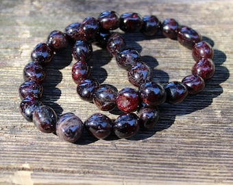 FREE SHIPPING Garnet bead bracelet
