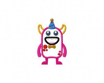 monster birthday embroidery design, monster birthday applique design, birthday applique, monster hat design