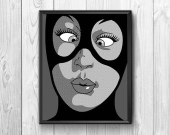 Masked woman. Painted with comic method