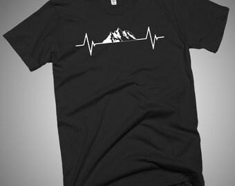 Love Heartbeat Mountains Hiking Camping Skiing T-Shirt
