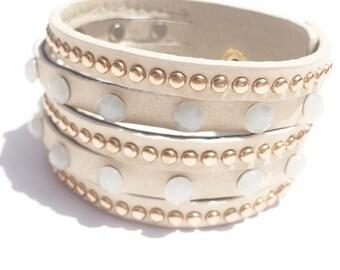Leather bracelet, Leather wristband, Leather cuff bracelet, cuff bracelet, ivory bracelet, rhinestone bracelet, cool bracelets,