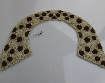 Vintage 1920's Handmade Beaded Collar, Unusual Spotty Beaded Collar in Cream & Brown, 1920's Dress Collar,Vintage Bead-work,