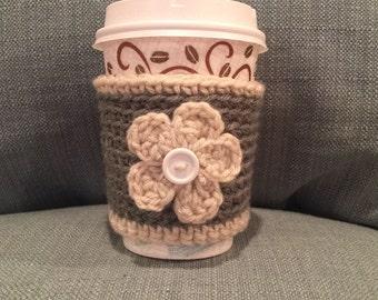Crochet Green/Tan Flower Coffee Cozy | Cup Cozy | Koozy