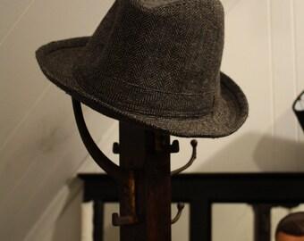 Herringbone Grey Wool Fedora